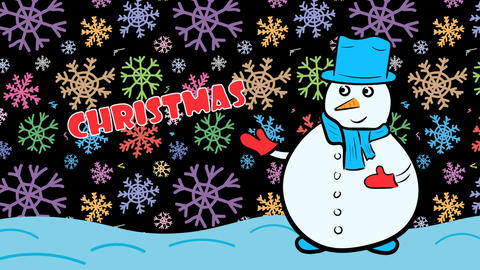 Christmas snowman and dark color snow Stock Video Footage