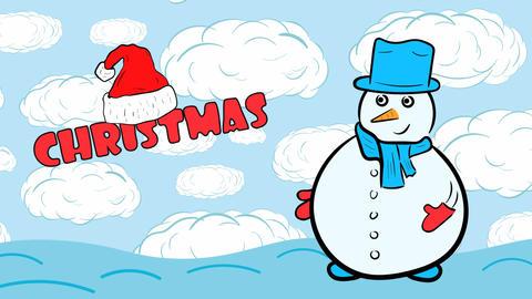 Christmas snowman on blue sky Animation