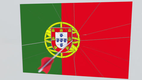 Archery arrow breaks plate featuring flag of PORTUGAL. 3D animation Footage