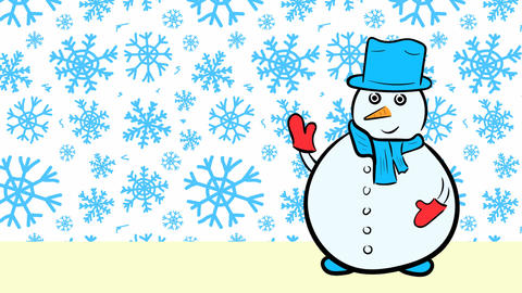 Christmas snowmen and sale blue snowflakes Stock Video Footage