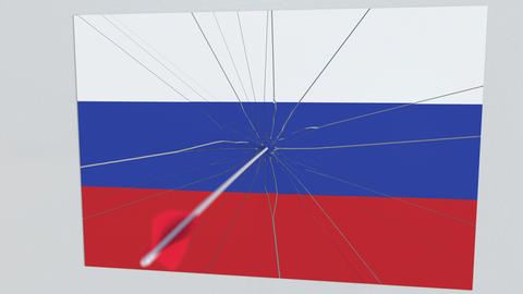 Archery arrow hits flag of RUSSIA plate. Conceptual 3D animation Footage