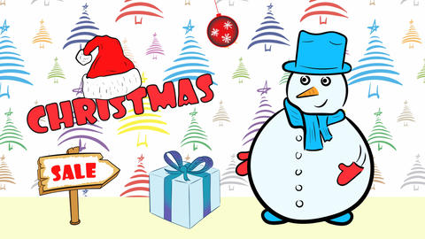 Christmas snowmen and sale colorful fir-tree Animation
