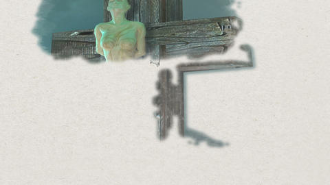 detection - Figure of Crucifixion made in 3d and hand painted Animation