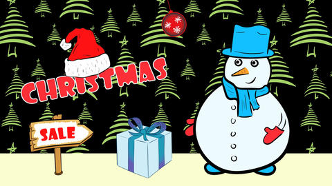 Christmas snowmen and sale green fir-trees Animation
