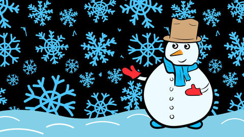 Snowman and blue snowflakes Animation