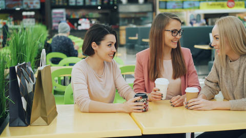 Good-looking girls are toasting and clinking glasses with drinks sitting in cafe Footage