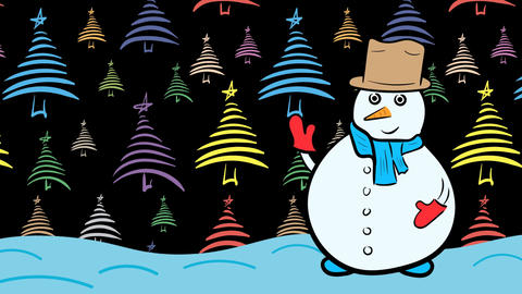 Snowman and xmas in color fir-trees Stock Video Footage