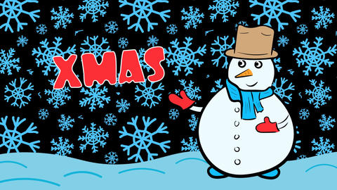Snowman xmas and dark blue snowflakes Animation