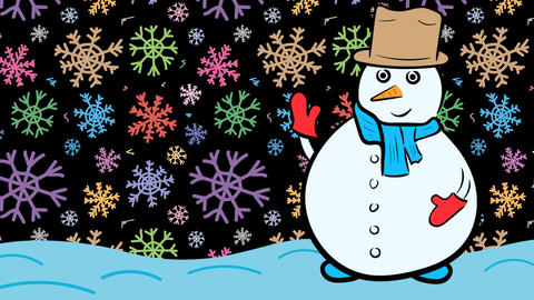 Snowman xmas and dark color snowflakes Stock Video Footage