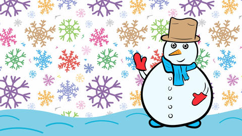Snowman xmas and white color snowflakes Stock Video Footage