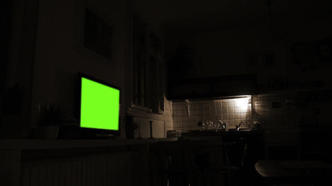 Dark Living Room With Green Screen Television. Sepia Tone GIF