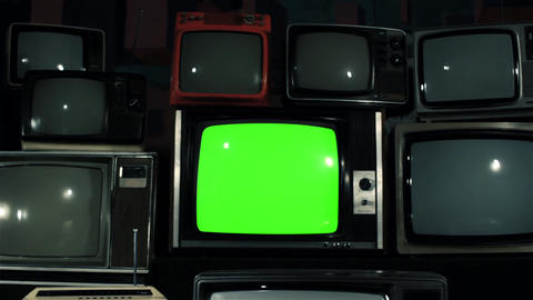1980s Tv Green Screen With Many 1980s Tvs. Iron Tone. Dolly Out Fast Live Action