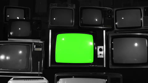 1980s Tv Green Screen With Many 1980s Tvs. Noir Tone. Dolly Out Live Action