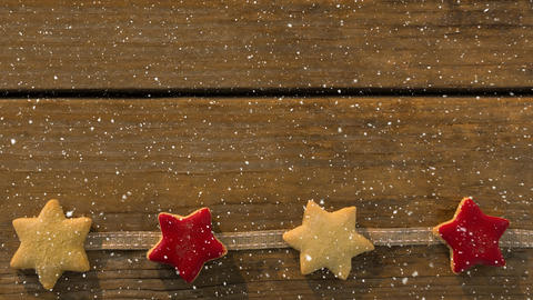 Falling snow with Christmas stars decoration Animation