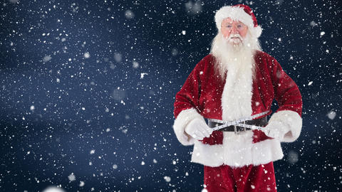 Santa clause measuring himself with a measure tape combined with falling snow Animation