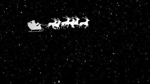 Video composition with falling snow over animation of santa in sleigh Animation