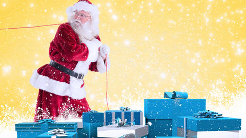 Santa clause with blue presents combined with falling snow Animation