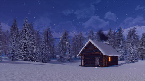 Cozy log cabin in mountains at snowy winter night ライブ動画