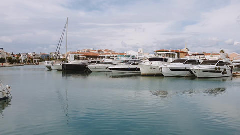 Cyprus Limassol Marina day view with yachts ビデオ