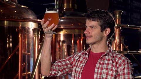 Cheerful male brewer smiling to the camera, examining beer in a glass Footage