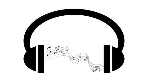 Animation of headphones with graphic equalizer.Music notes flying from GIF
