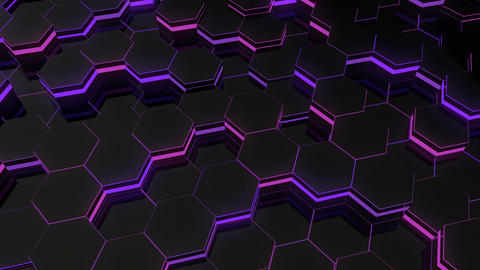 Abstract hexagonal glowing background. Seamless loop sequences GIF