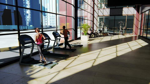Gym with various exercise machines in it and people walking on treadmill Animation