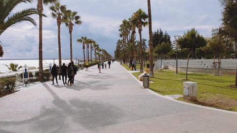 Limassol, Cyprus coastline promenade day view GIF