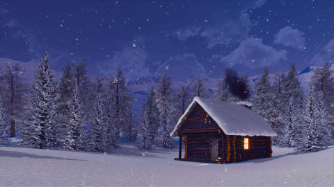 Log cabin with smoking chimney at snowy winter night Animación