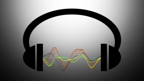 Animation of headphones with graphic equalizer.Music notes flying from Animation