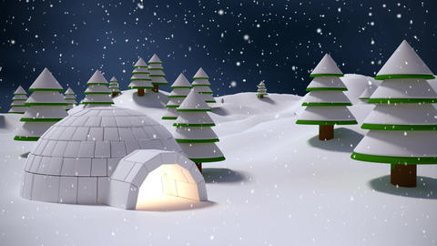 Igloo in winter scenery and falling snow Live Action