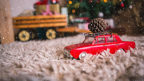 Falling snow with Christmas car decoration Animation