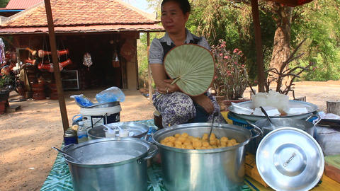 cakes made from palm fruit, Cambodia Live Action