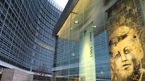 Brussels, Belgium European Parliament (Le Berlaymont) Berlin Wall entrance piece Footage