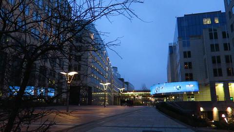 Brussels, Belgium. The Parlamentarium entrance at Espace LEopold Live Action