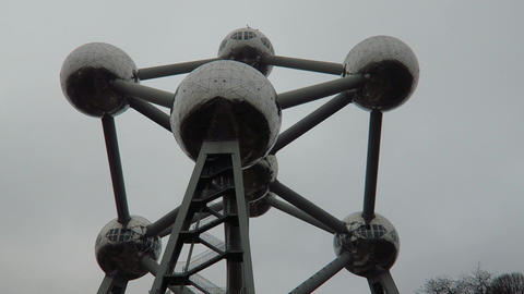 Brussels, Belgium. The Atomium Building External View stock footage