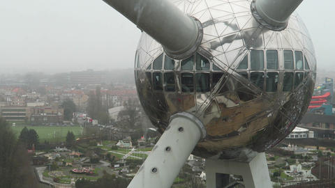 Brussels, Belgium. The Atomium view inside out Footage