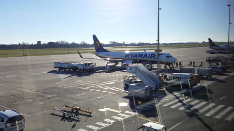 Brussels South Charleroi Airport, Belgium Ryanair landing and disembarking Footage