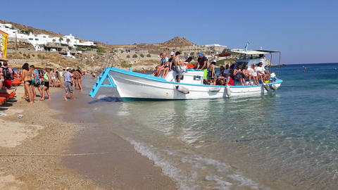 Mykonos, Greece - Water taxi from Paradise beach to Super Paradise beach Live Action