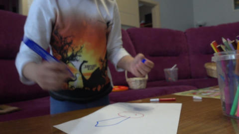 Boy draws a picture Footage