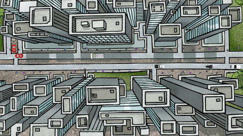 Overlooking Large City Cartoon: Looping Animation