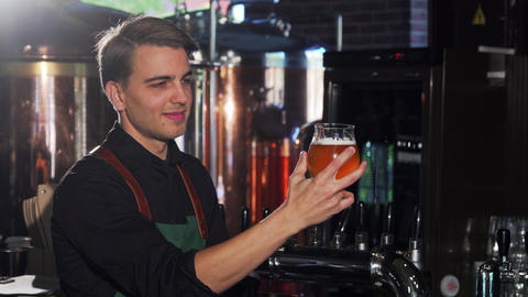 Cheerful bartender looking at the beer in the glass, working at his craft beer Footage