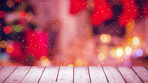 Falling snow with Christmas home and wood Animation