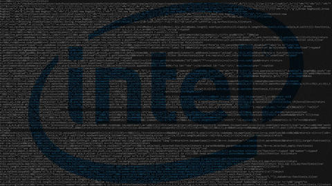 Intel Corporation logo made of source code on computer screen. Editorial Live Action
