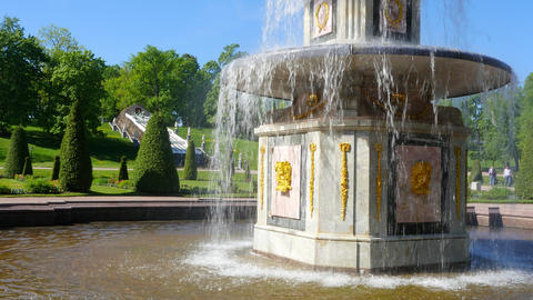 Fountains of Peterhof. Russia Footage