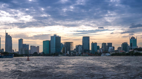 Panoramic view of Ho Chi Minh City from Saigon River Photo