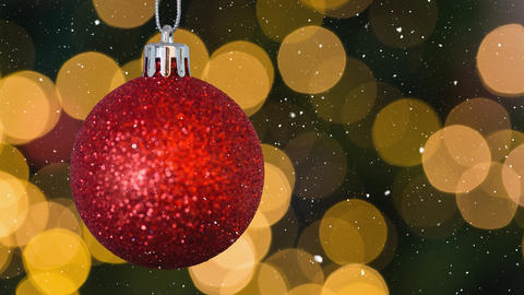 Falling snow and Christmas bauble decoration Animation