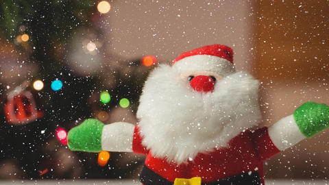 Falling snow with Christmas Santa decoration Animation