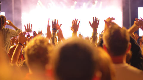 A happy crowd on an open air concert Live Action