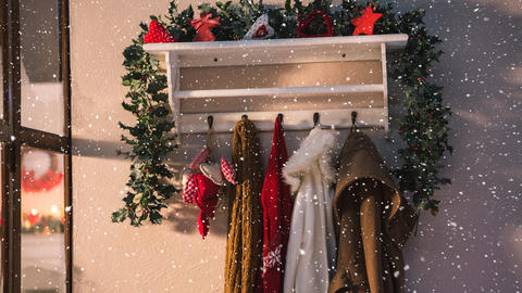 Falling snow with Christmas home coats Animation